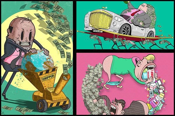 Ilustraciones critican dinero – Steve Cutts